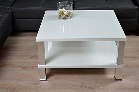 Couchtisch 80x80cm Hochglanz weiß lackiert Lack Tisch KRATZFEST Beistelltisch 42 cm