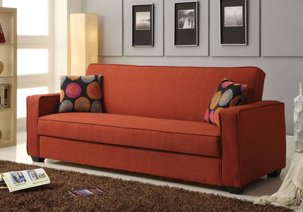 1PerfectChoice Shani Living Room Adjustable Sofa Bed Sleeper Storage Futon Pillows Red Linen