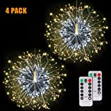 Firework Lights Wire Lights,150 LED DIY 8 Modes Dimmable String Fairy Lights with Remote Control,Waterproof Decorative Hanging Starburst Lights for Christmas, Home, Patio, Indoor Outdoor Decoration (Color: 150 LED Warm-White, Tamaño: 4 Pack)