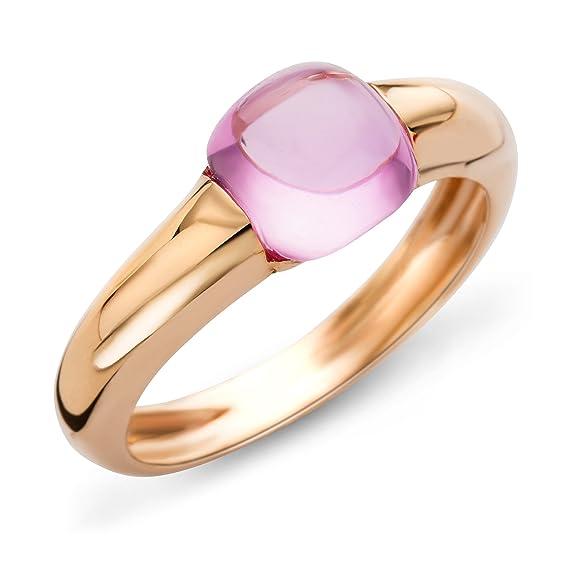 Miore Ladies 9 ct Rose Gold Citrine Cushion Cut Half-Bezel Ring