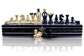 BLEU UNI 35cm / 14po Game Coloré en bois d'échecs et Dames / Dames, Jeu Classique
