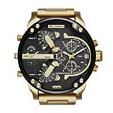 Diesel Men's Mr Daddy 2.0 Quartz Stainless Steel Chronograph Watch, Color Gold-Tone (Model: DZ7333) (Color: Gold)