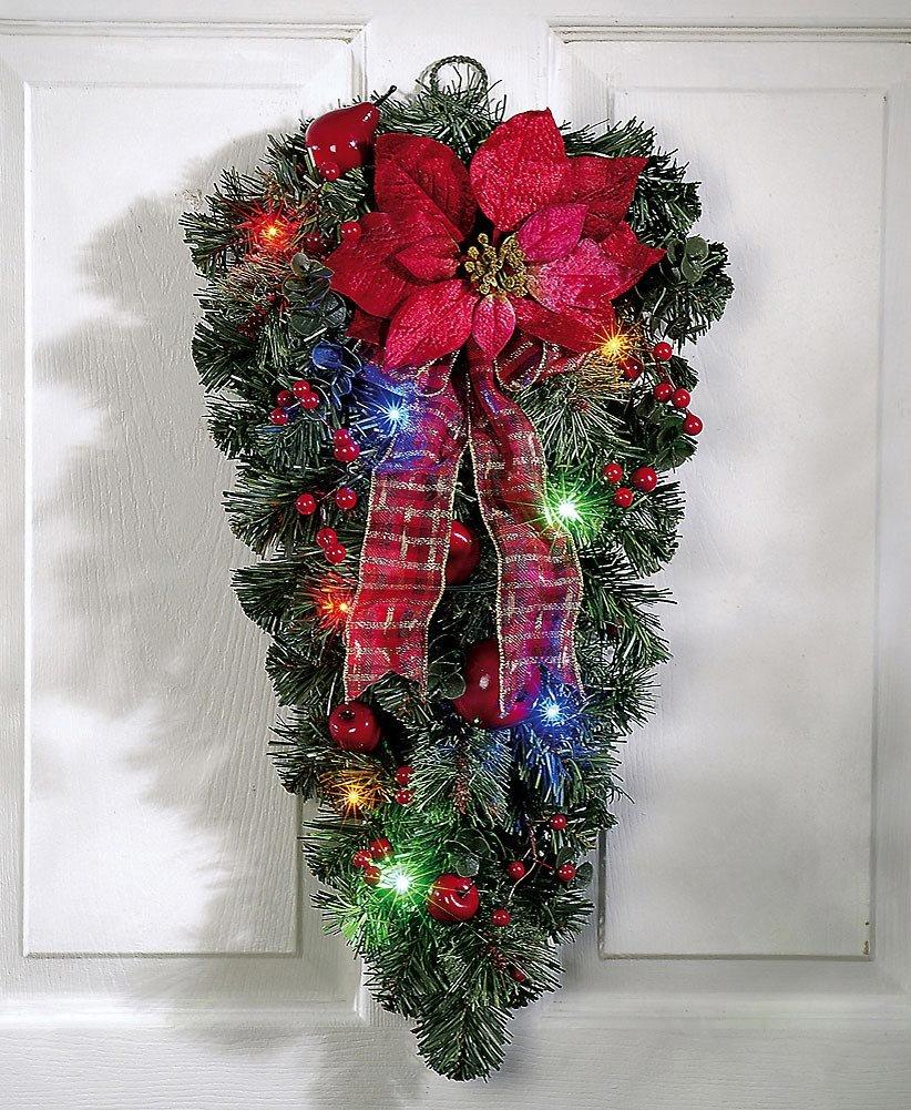 Lighted Christmas Poinsettia Door Swag Decoration