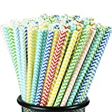 [100 pack] longzon Biodegradable Paper Straws, 8 Different Color Wave Patterns Paper Straws for Party, Birthday, Wedding, Bridal Shower, Baby Shower Supplies and Decorations (Color: colorful)