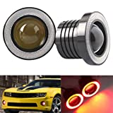 Car LED Fog Lights,Diaoaokiss Driving Fog Light Angel Eyes Halo Ring DRL Driving Bulbs 2pcs (3.0 Inch, Red) (Color: Red, Tamaño: 3.0inch)