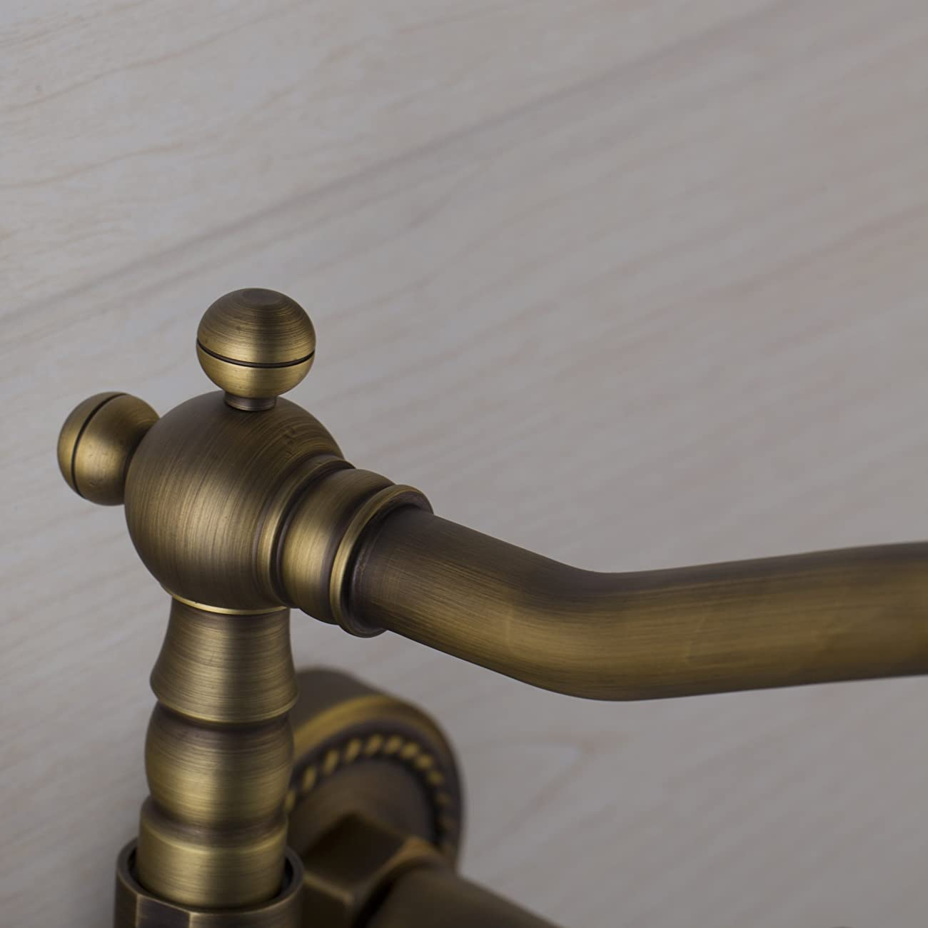 European Style Vintage Wall Mount Kitchen & Bathroom Faucet with Double Cross Handle, Antique Brass Ys65960 3