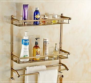 wysm Ripiani antico continentale WC rame ciondolo bagno hardware singolo retrò cremagliera doppio telo muro del bagno ( dimensioni : 50 )