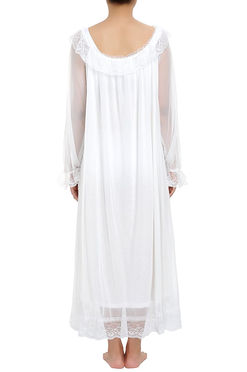 Latuza Women's Long Sheer Vintage Victorian Nightgown with Sleeves 3