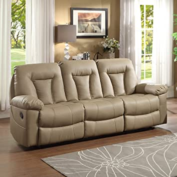 Homelegance Cade Double Reclining Sofa in Taupe Leather