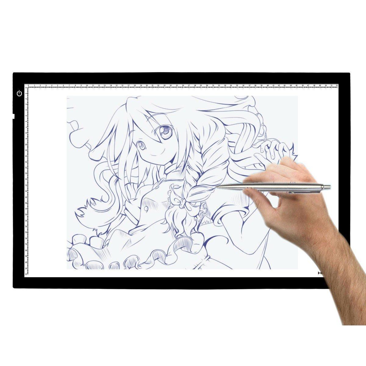 Huion A2 - Tablero de trazado digital para artes gráficas con luz LED de 26.8 pulgadas. Color negro y blanco.
