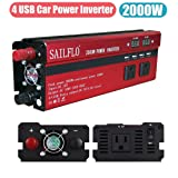 2000W Power Inverter 3 AC Outlets & 4 USB-Cigarette Lighter Adapter And Car Battery Clips- Cooling Fan,Low Battery Voltage Alarm (Color: 2000W)
