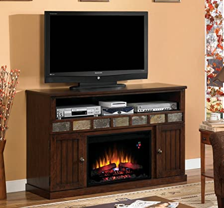 "ClassicFlame  26MM1754-O128 Margate TV Stand for TVs up to 65"", Caramel Oak (Electric Fireplace Insert sold separately)"