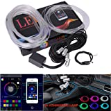 Paddsun Multicolor RGB LED Car Interior Dash Board Door Atmosphere Lights with 6M Neon Strip Light Sound Active Bluetooth Phone Control for IOS Android