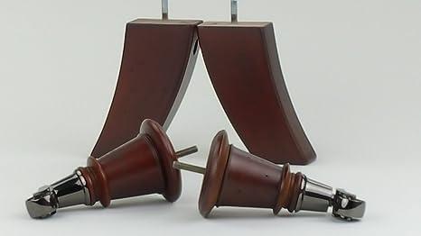 4 x pies de madera sólida con muebles de ricino de níquel de 165 mm de altura para sofás, sillas, taburetes sofás M8 (8 mm)
