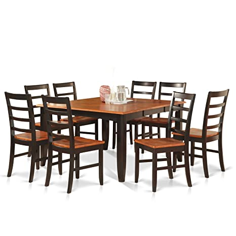 East West Furniture PARF9-BLK-W 9-Piece Dining Table Set