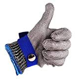 Safety Cut Proof Stab Resistant 316L Stainless Steel Wire Butcher Glove Size M High Performance Level 5 Protection by cleanpower (Color: Blue-Medium, Tamaño: Medium)