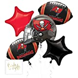 Andaz Press Balloon Bouquet Party Kit with Gold Cards & Gifts Sign, Buccaneers Football Themed Foil Mylar Balloon Decorations, 1-Set (Color: Sports Buccaneers)