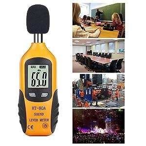 RISEPRO Decibel Meter, Digital Sound Level Meter 30 – 130 dB Audio Noise Measure Device Dual Ranges HT-80A (Color: Yellow, Tamaño: Small)