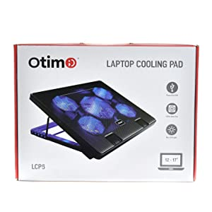 Otimo Laptop Cooling Pad for 12-17 inch Laptop - 5 Ultra Quiet Fans - USB Powered w/2 Ports - Adjustable Angled Stand - USB Hub (Color: Black)