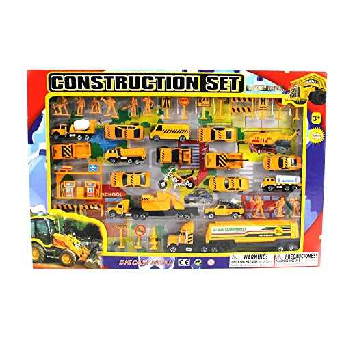 Metro Complete Construction Crew 43 Piece Mini Toy Diecast Vehicle Play Set Comes with Street Play Mat Variety of Vehicles and Figures
