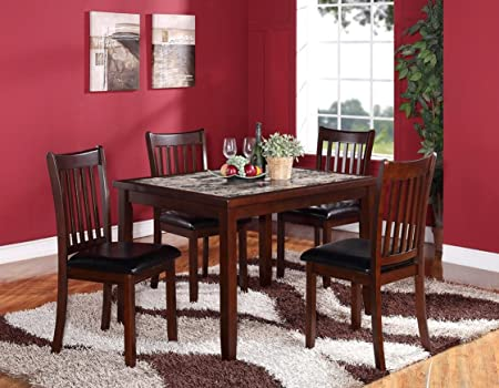 Zoho 5PC Aritifical Marble Top Dark Cappuccino Finish Wood Dining Set
