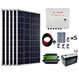 ECO-WORTHY 500 Watts Complete Solar Kit Off Grid: 5pcs 100W Polycrystalline Solar Panel Module + 45A PWM Charge Controller + Combiner Box + Solar Cable + Z Brackets + 200Ah 12V Batterry (Tamaño: 500W Solar Panel Battery System)