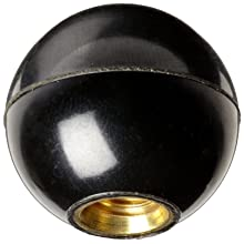 "DimcoGray Black Phenolic Ball Knob Female, Brass Insert: 1/2-20"" Thread x 5/8"" Depth, 1-3/8"" Diameter x 1-19/64"" Height x 5/8"" Hub Dia  (Pack of 10)"