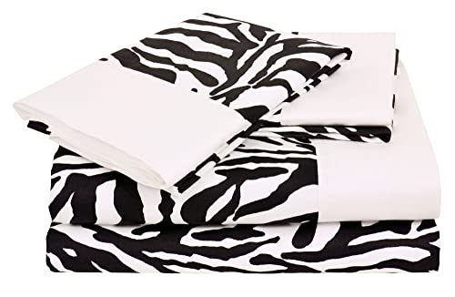 Regal Collection 300 Thread-Count Zebra Print Twin Sheet Set, Black/White