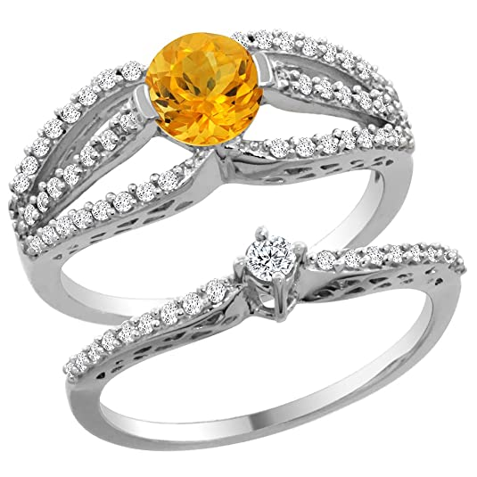14ct White Gold Natural Citrine 2-piece Engagement Ring Set Round 5mm, sizes J - T