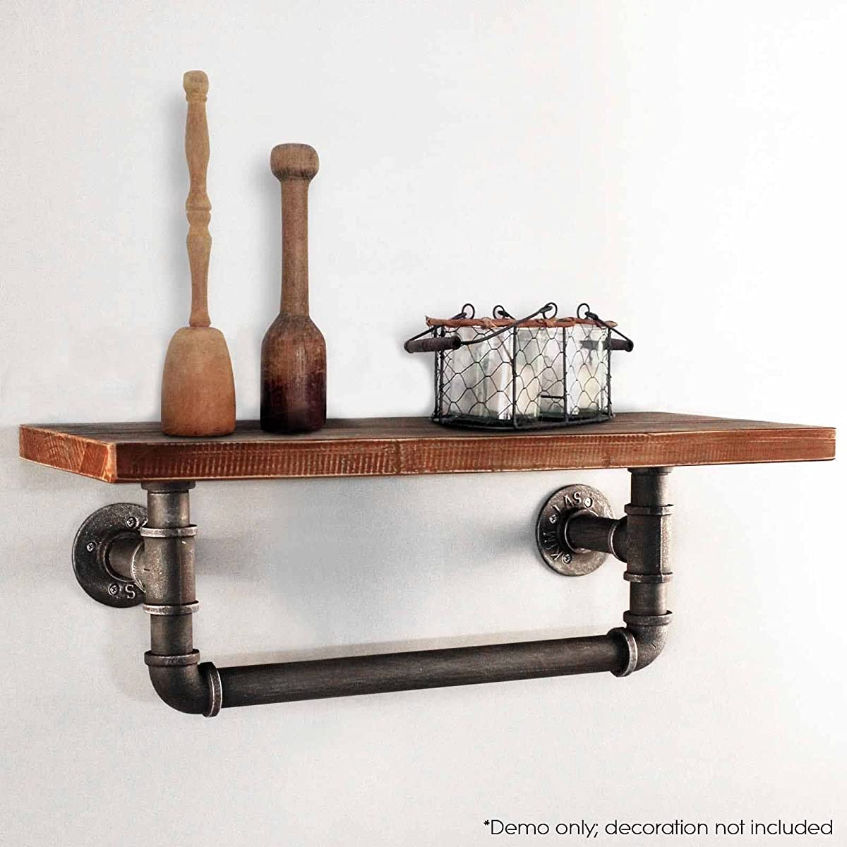 Diwhy Industrial Pipe Shelf Shelving Pine Wood and Pipe Towel Rack - Multiple shelves (24)