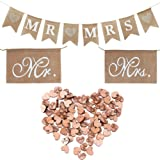 Buytra Rustic Wedding Decorations Set Including Burlap MR MRS Bunting Banner, Mr Mrs Chair Sign, 100 Pack Wooden Love Heart Slices (Color: Style2)