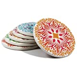 Coasters Set of 6 Absorbent Stone Coaster for Drinks - Desktop Protection Prevent Furniture Damage - Colorful Mandala Style Tabletop Drink spills Coasters (Color: 6 PCS Colorful Mandala, Tamaño: 4 In)
