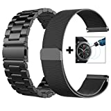 V-MORO Metal Strap Compatible with Galaxy Watch 46mm Bands/Gear S3 Classic Band 22mm Stainless Steel + Milanese Loop Mesh Strap Replacement for Samsung Galaxy Watch 46mm R800/Gear S3 Smartwatch Black (Color: Metal+Milanese Black, Tamaño: L/XL 6.3