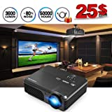 Projector, CAIWEI Movie Projector 3600 Lumens, Full HD LED Video Projector 1080P Supported, 50,000 Hour Lamp Life with 200