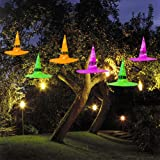 MAOYUE Halloween Decorations Witch Hat, 6Pcs Battery Powered Witches Hat String Light 33 ft. Halloween Décor for Outdoor, Garden, Indoor, Yard, Tree, Party (Purple/Orange/Green) (Color: orange)