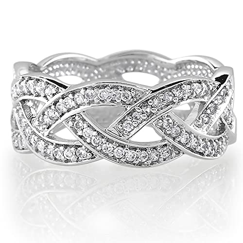 BERRICLE-Sterling-Silver-Cubic-Zirconia-CZ-Accent-Woven-Design-Engagement-Wedding-Ring-Band