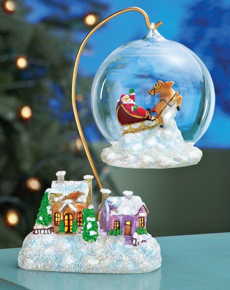 Santa Flying Over Village Holiday Decor