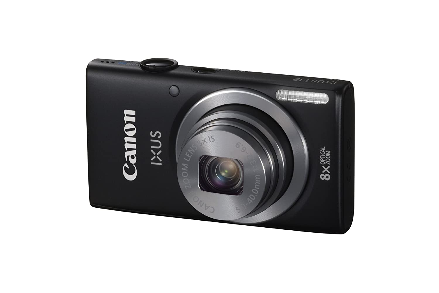 Canon IXUS 132 Digital Camera - Black (16MP, 28mm Wide Angle, Eco Mode, 8x Optical Zoom) 3.2 inch LCD