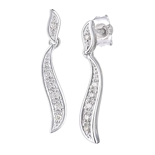 Naava 9ct White Gold Diamond Earrings Swirl Design