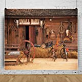 AOFOTO 10x8ft Western Barn Backdrops Wild West Country Cowboy Wooden Farmhouse Front Door Haystack Bike Photo Background Rustic Farm Tools Photography Studio Props Adult Man Portrait Video Drop (Color: WF-A1, Tamaño: 10x8ft)