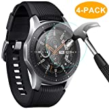 CAVN 4-Pack Screen Protectors Compatible with Samsung Galaxy Watch 46 mm Tempered Glass Waterproof Screen Cover Saver Compatible with Samsung Galaxy Smartwatch 46mm Smartwatch (Color: Tempered Glass-Clear, Tamaño: 46mm)