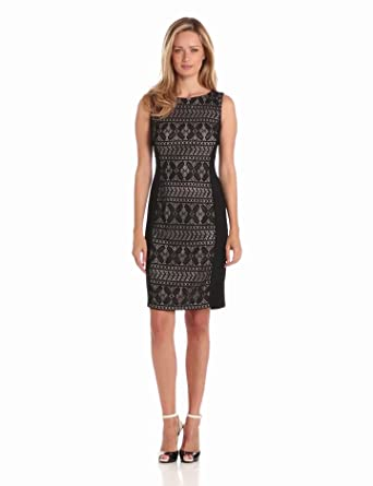 Anne Klein Women's Portofino Lace Sheath Combo Dress, Black, 2