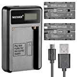Neewer Micro USB Battery Charger + 2-Pack 2600mAh NP-F550/570/530 Replacement Batteries for Sony HandyCams, Neewer Nanguang CN-160,CN-216,CN-126 LED Light, Polaroid On-Camera Video Lights (Color: black, Tamaño: 4.2 x 4 x 1 inches)