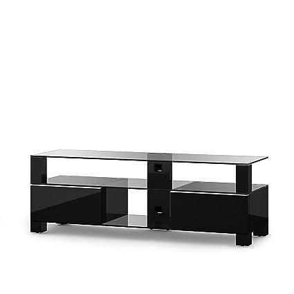 Sonorous MD 9140-C-HBLK-BLK Fernseher-Möbel mit Klarglas (Aluminium Hochglanz/Korpus Hochglanzdekor) schwarz
