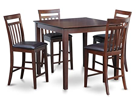 East West Furniture EAWE5-MAH-LC 5-Piece Counter Height Table Set, Mahogany Finish