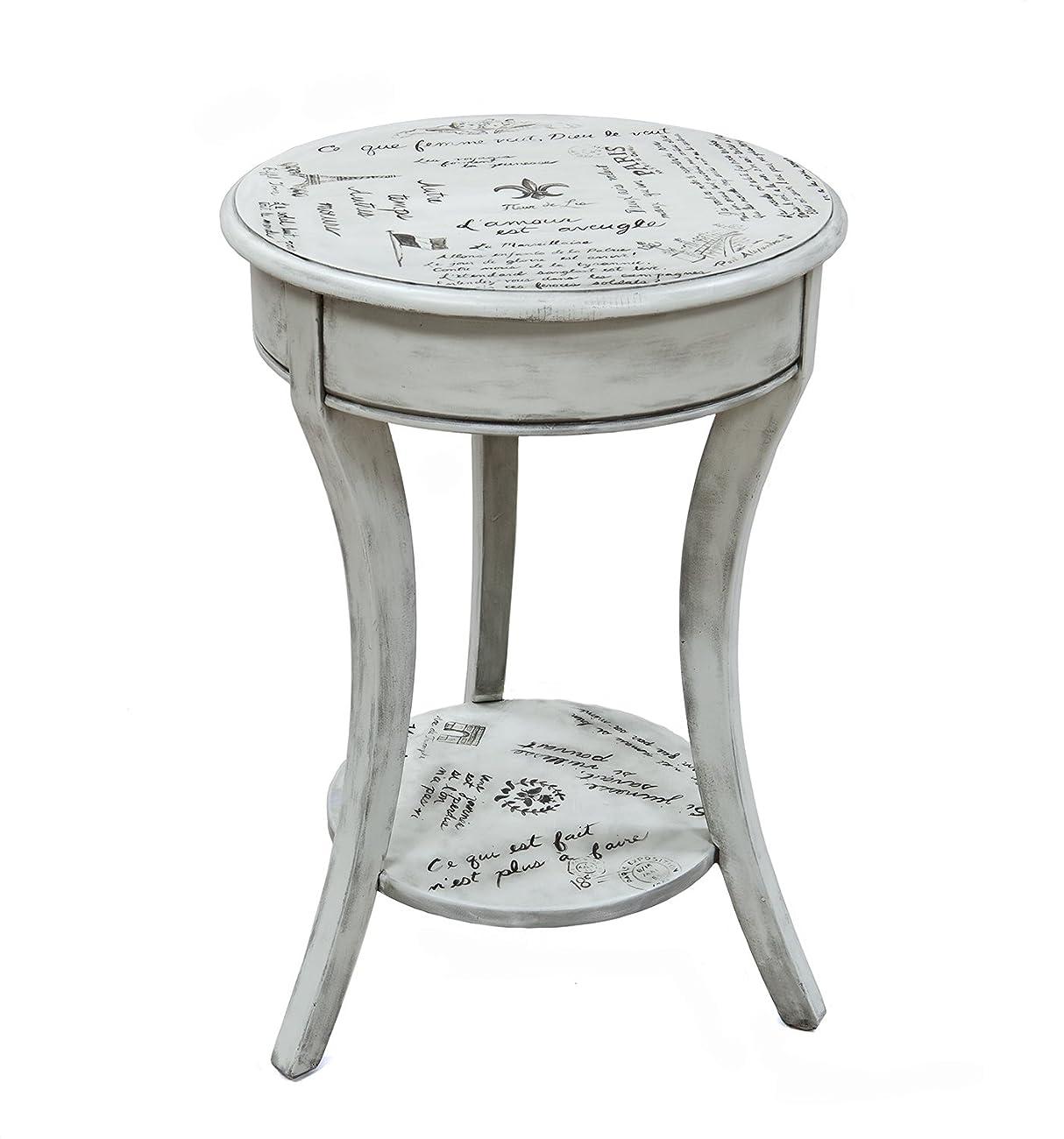 Carolina Cottage Vintage Cream Parisian Script Accent Table 0