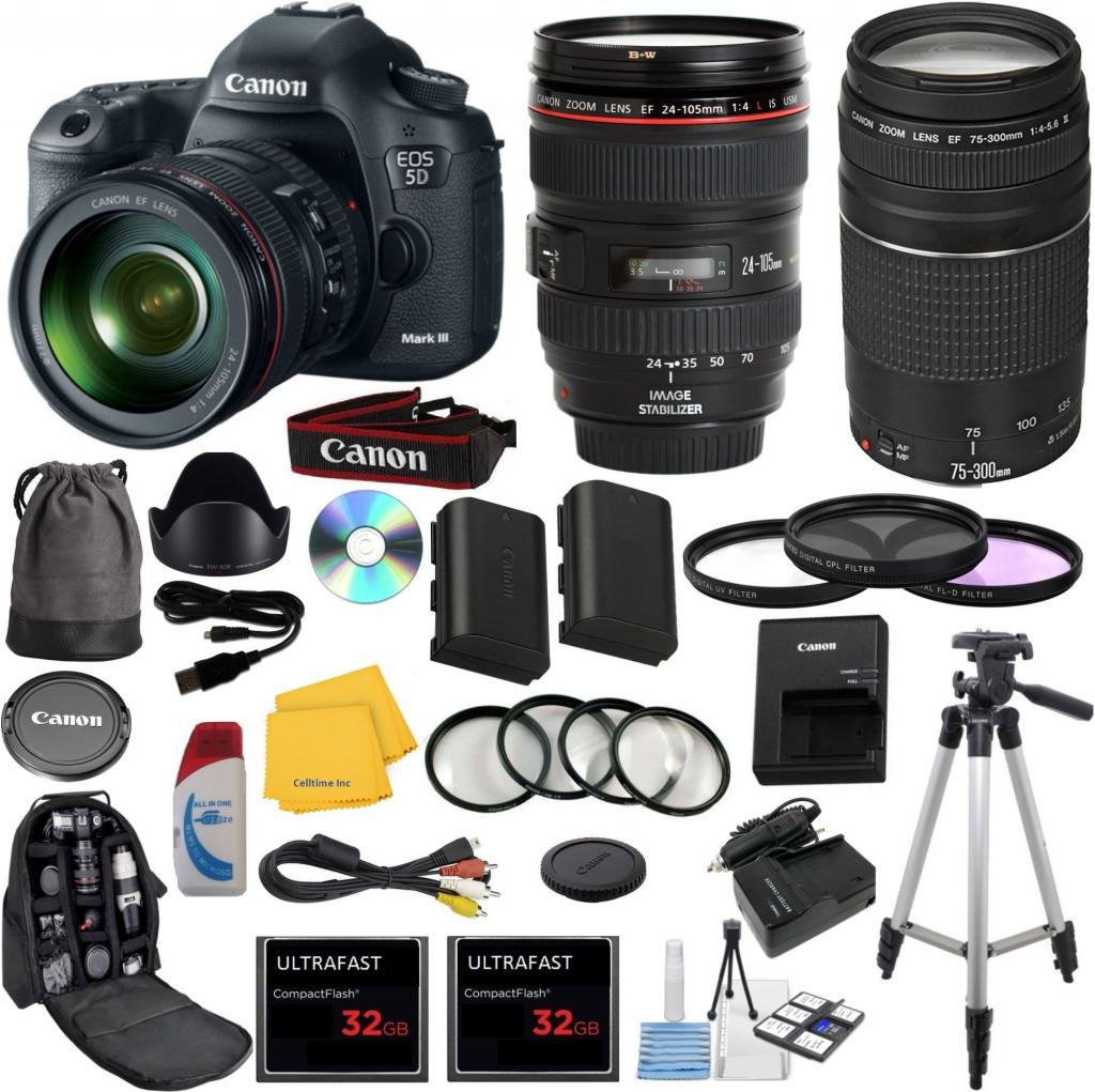 Canon EOS 5D Mark III 22.3 MP Full Frame CMOS Digital SLR Camera with EF 24-105mm f/4 L IS USM Lens Celltime Exclusive Bundle with EF 75-300mm f/4-5.6 III Telephoto Zoom Lens  ..