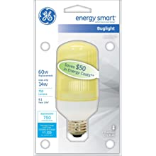 GE Lighting 47464 Energy Smart CFL Bug Light 14-Watt (60-watt replacement) 750-Lumen Postlight Bulb with Medium Base, 1-Pack