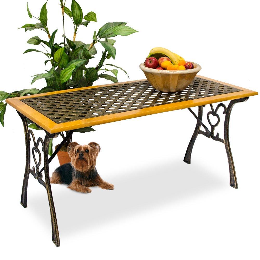 Massiver Gartentisch aus Holz und Gusseisen in Landhausstil Holztisch Beistelltisch Terrassentisch jetzt kaufen