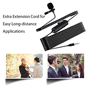 Lavalier Microphone Flat Frequency and High Sensitivity, MAONO AU100 Hands Free Clip-on Lapel Mic with Omnidirectional Condenser for Podcast, Recording, DSLR,Camera, Smartphone,Laptop(236 in) (Color: Black with one more furry windscreen)